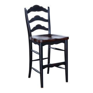 Colonial Wood Blackwash Rustic Counter Stool For Sale