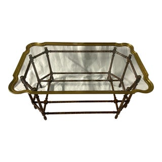 Baker Hollywood Regency Faux Bamboo Coffee Table For Sale