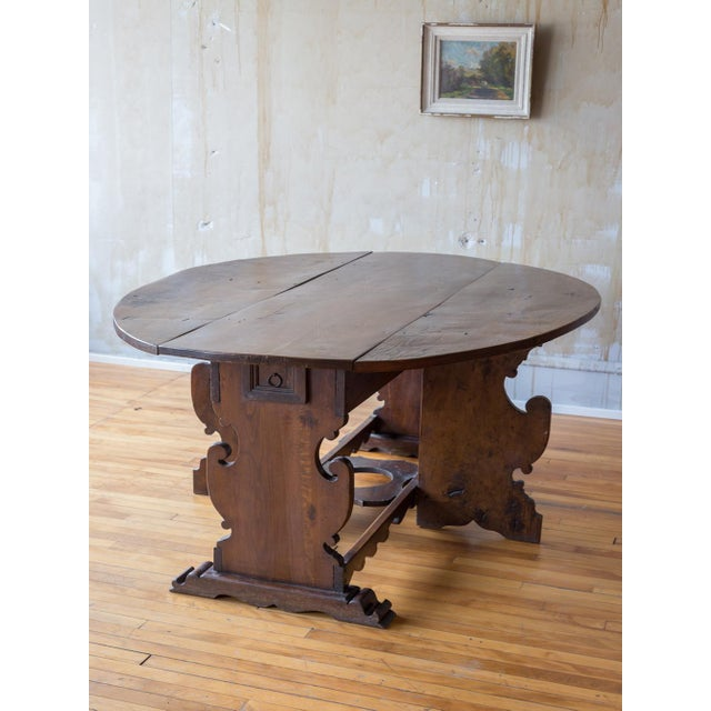 Antique Drop Leaf Table >> Italian Antique Drop Leaf Table Seats 6 Chairish
