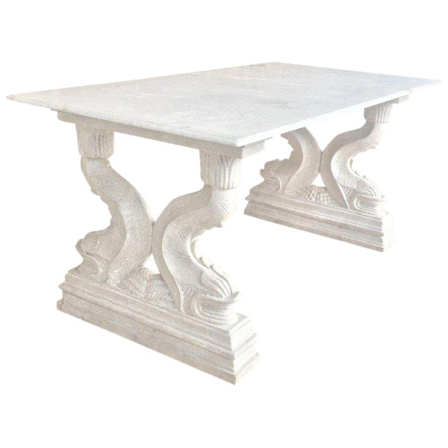 19th Italian Center or Dining Table in Carrara Marble For Sale