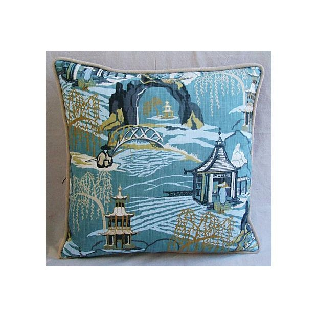 Designer Chinoiserie Asian Toile Pillows - Pair - Image 6 of 7
