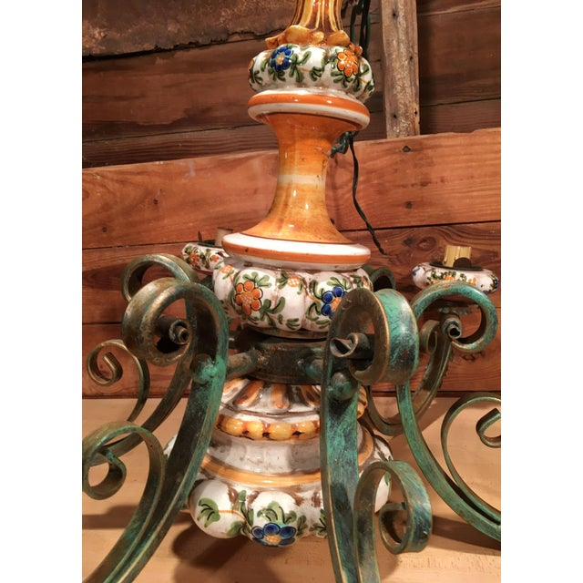 Vintage Italian Tole Painted Pottery Chandelier For Sale - Image 4 of 8