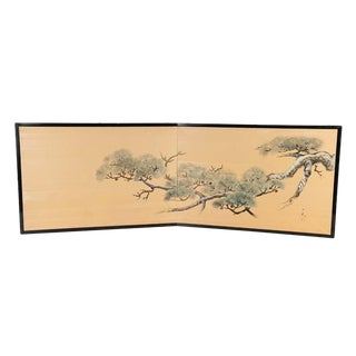 Japanese Chinese Two 2 Panel Gold Screen Byobu Foldable Black Lacquer Green Pine Tree Cloud For Sale