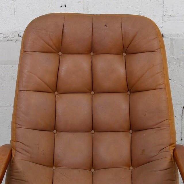 Leather Mid-Century Modern Lounge Chair & Ottoman - Image 6 of 9
