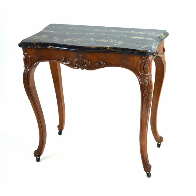 Antique French Louis XV Heavily Carved Marble Top Hall Console Table Cabriolet Legs For Sale - Image 12 of 12