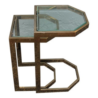 Mid-Century 2 Tier Brass Glass Nesting Tables - A Pair