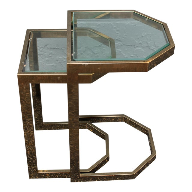Mid-Century 2 Tier Brass Glass Nesting Tables - A Pair - Image 1 of 11