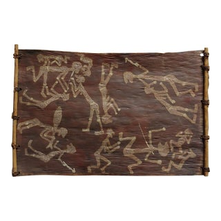 1960s Vintage Dick Nguleingulei Murramurra - Fighting With Spears Aboriginal Painting For Sale