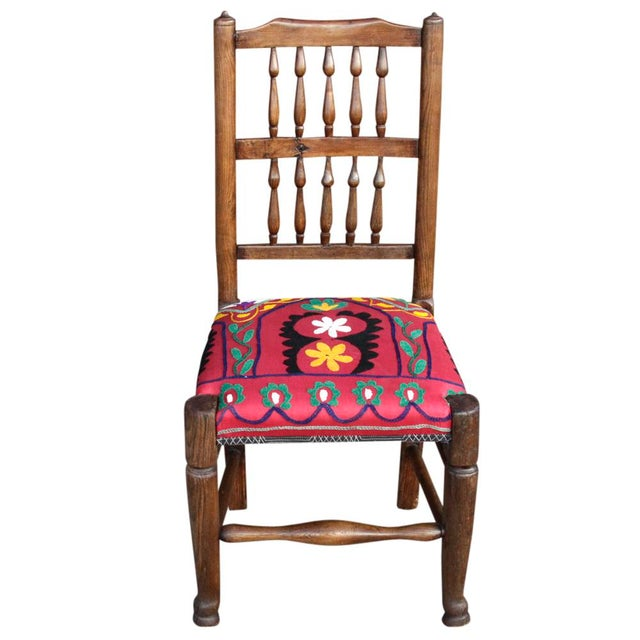 Boho Chic English Spindle Back Suzani Side Chair For Sale - Image 3 of 5