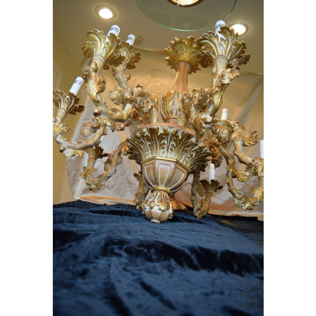 Hand Carved Decorated Italian Wood Chandelier For Image 4