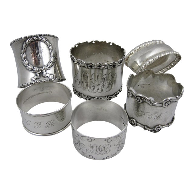 Antique Sterling Silver Napkin Rings - S/6 - Image 1 of 11