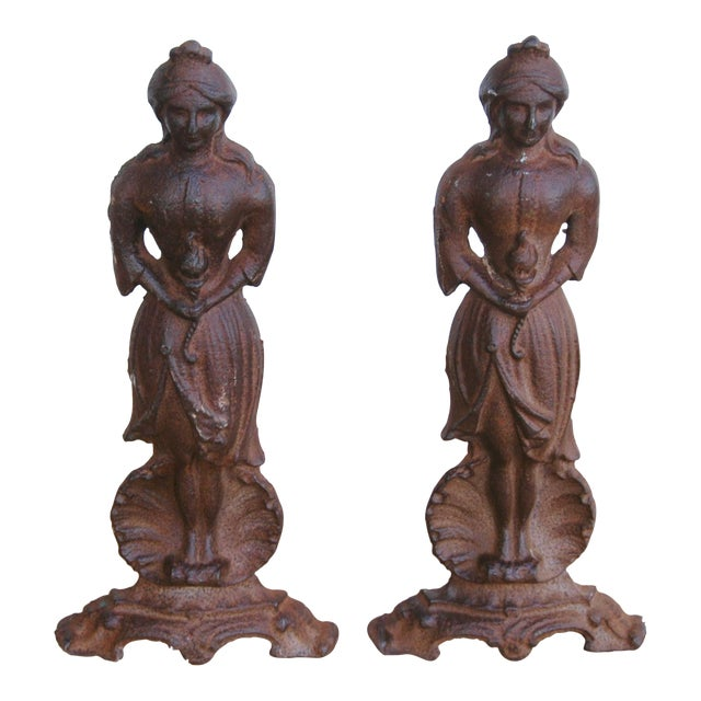 Vintage Cast Iron Lady Fireplace Andirons - Pair - Image 1 of 11