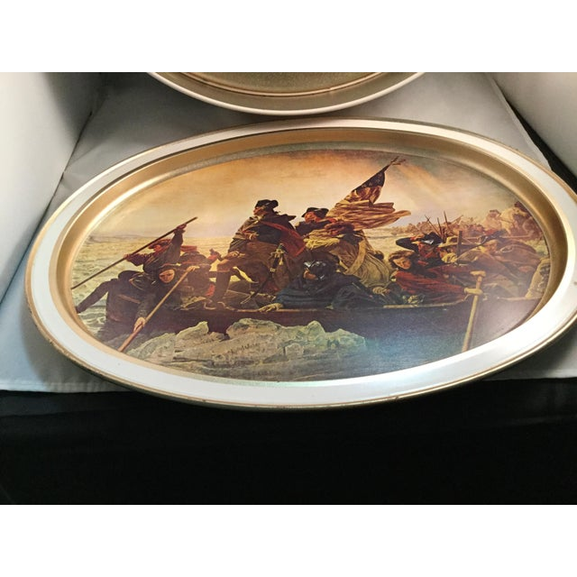 Beige Washington Crossing the Delaware Decorative Biscuit Container For Sale - Image 8 of 11