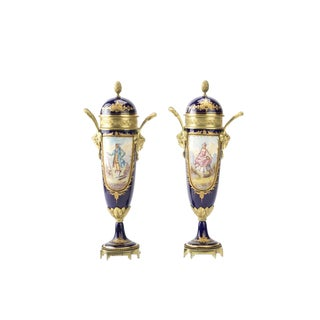 19th century Sevres -Beautiful cobalt Blue lidded Urns -Pair For Sale