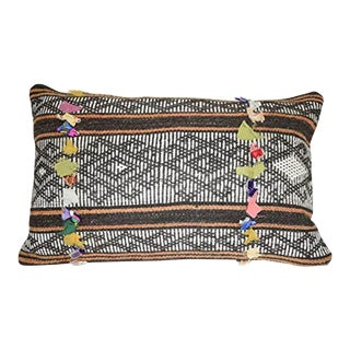 Mudcloth Goat Hair Unique Lumbar Kilim Pillow Cover, Tribal Wool Oblong Chair Decor 16'' X 24'' (40 X 60 Cm) For Sale