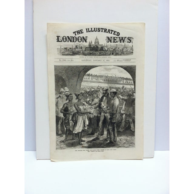 """Mid 19th Century 1874 Antique Illustrated London News """"The Ashantee War: Paying the Fantee Women Carriers at Cape Coast Castle"""" Print For Sale - Image 5 of 5"""