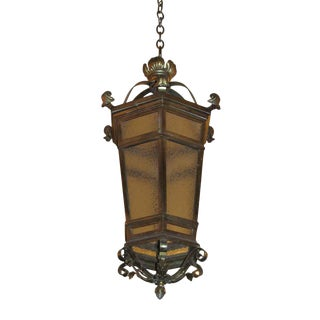 Large Bronze Hanging Lantern For Sale