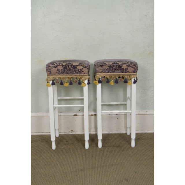 White Bar Stools w/ Upholstered Seats - Set of 4 For Sale - Image 5 of 11