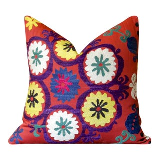 Raat Suzani Throw Pillow For Sale