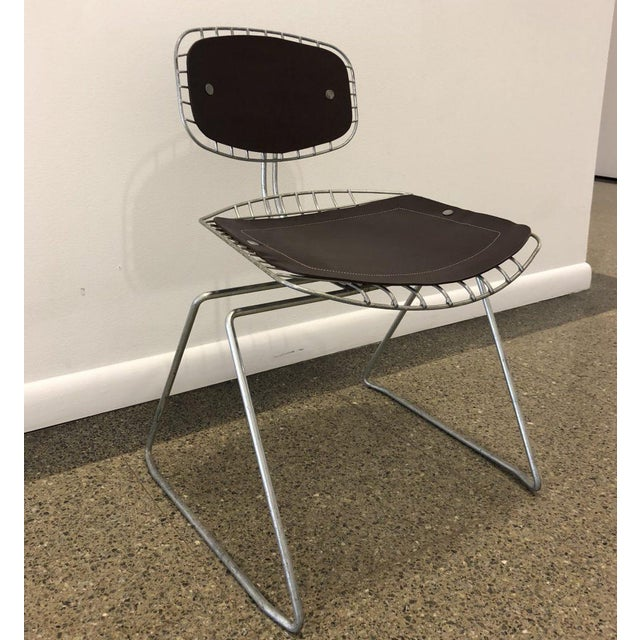 Michel Cadestin Pair of Beauborg Wire and Leather Stacking Chairs For Sale - Image 4 of 7