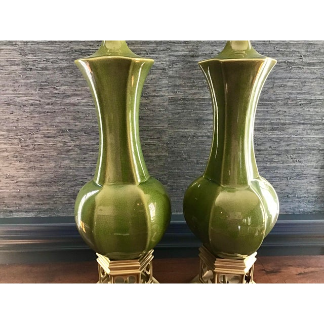 1970s Artisan Olive Green Lamps - a Pair For Sale - Image 5 of 9