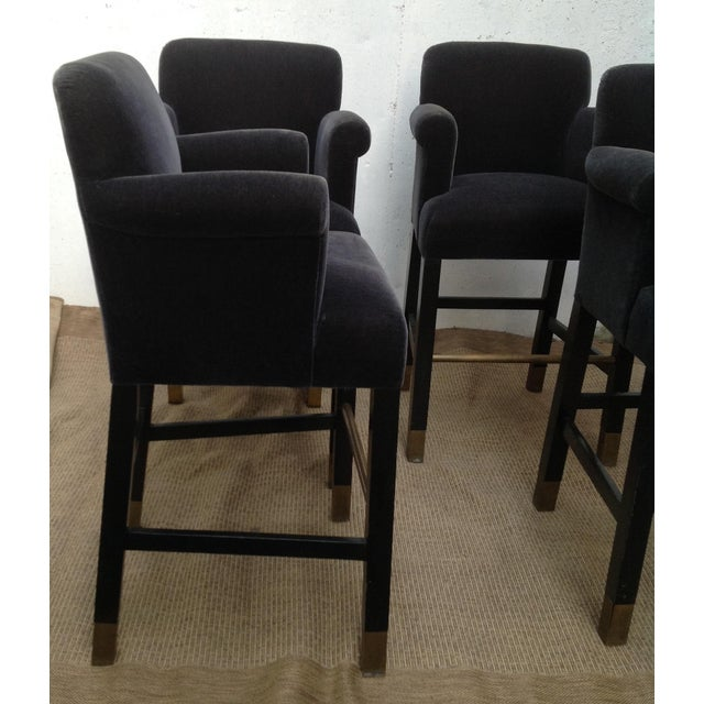 Contemporary Vintage Donghia Bar Stools Slate-Blue Mohair Stools- Set of 4 For Sale - Image 3 of 11