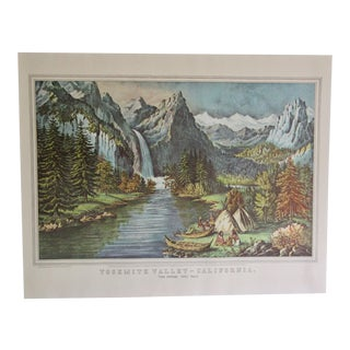 1950s Vintage Yosemite Valley California Currier & Ives Lithograph Print For Sale