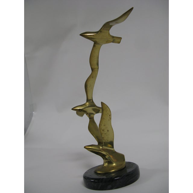 Gold Mid-Century Modern Brass and Marble Birds in Flight Sculpture For Sale - Image 8 of 9
