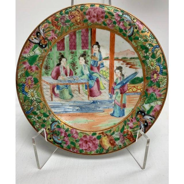 19th Century Chinese Export Rose Mandarin footed dish with great colors throughout and gilt in hair.