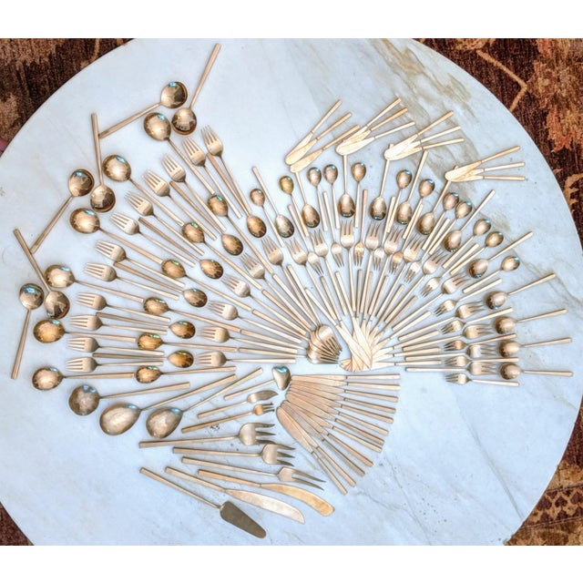 Minimalist Brass Flatware by Sigvard Bernadotte (Service for 12) For Sale - Image 9 of 12