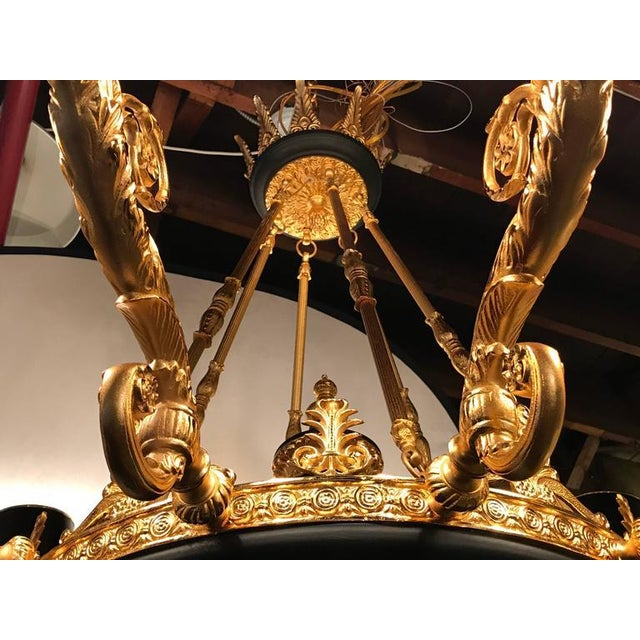 Empire Style Bronze & Ebony Highlights 12-Arm Chandelier For Sale - Image 4 of 10