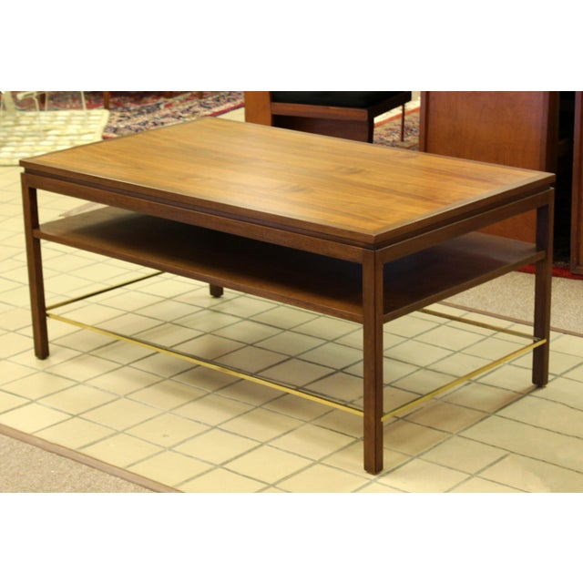 Mid Century Modern Wormley Dunbar Walnut Brass Coffee Occasional Console Table For Sale - Image 9 of 13