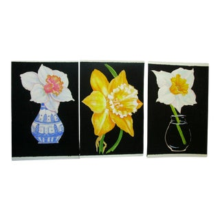 Lynne French Gallery Wall Garden Daffodil Paintings - Set of 3 For Sale