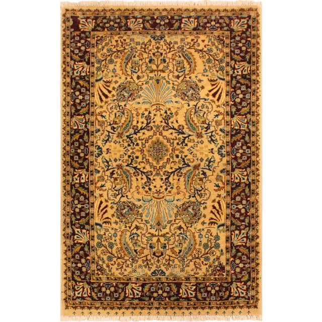 Semi Antique Istanbul Joellen Tan/Red Turkish Hand-Knotted Rug -3'1 X 5'4 For Sale