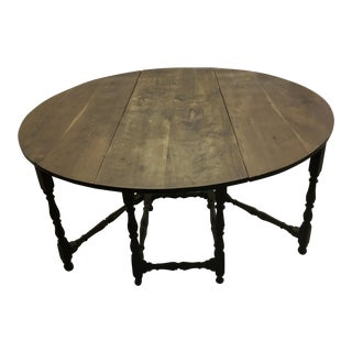 Antique French Gateleg Dining Table, Large For Sale
