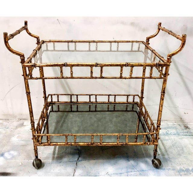 Hollywood Regency Italian Gilt Metal Bar Cart - Image 2 of 3