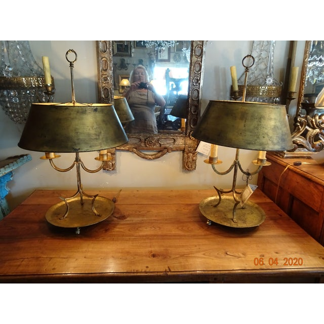 19th Century French Gilded Iron Bouillotte Lamps - a Pair For Sale - Image 12 of 12