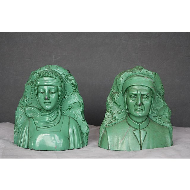 Metal Vintage Dante & Beatrice Jennings Brothers Bookends - a Pair For Sale - Image 7 of 8