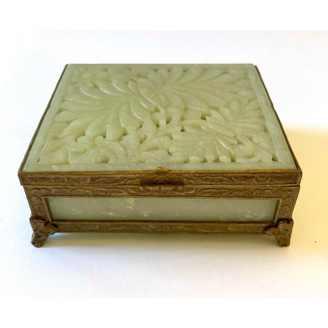 Antique Chinese Jade & Brass Box For Sale - Image 9 of 9