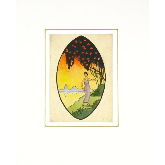 """Vintage 1920 """"Sunset Saunter"""" Watercolor Painting - Image 3 of 3"""