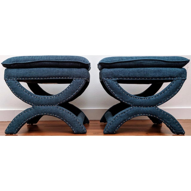 Teal Regency-Style Sculptural Ottomans, a Pair For Sale - Image 8 of 8