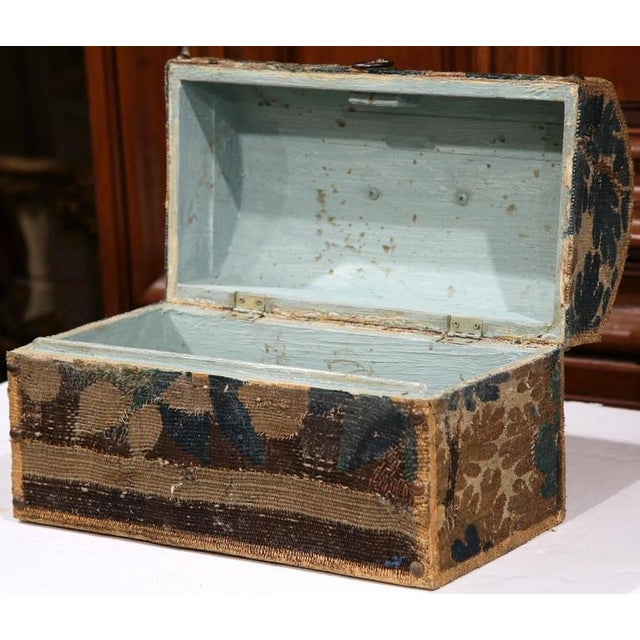 Bombe Wood Trunk Covered With 18th Century Aubusson Tapestry and Signed J. Lamy For Sale - Image 4 of 10
