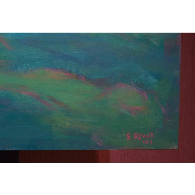 "Blue Large 32"" X 80"" Contemporary Painting, ""Summertime by the Ocean"", by Stephen Remick For Sale - Image 8 of 12"