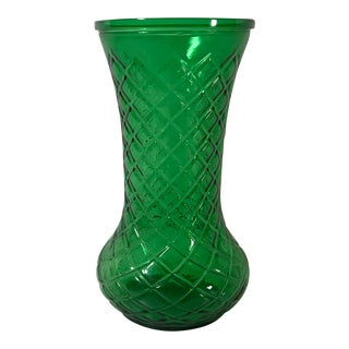 Vintage Hoosier Glass Green Vase For Sale