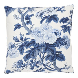 Schumacher Pyne Hollyhock Pillow in Indigo For Sale
