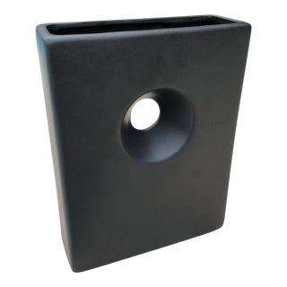 Modernist Matte Black Ilebana Vase