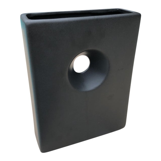 Modernist Matte Black Ilebana Vase For Sale
