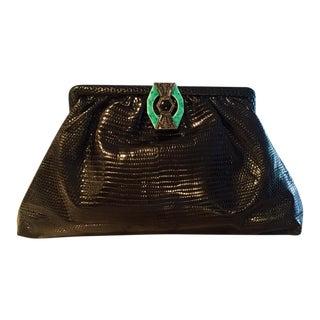 1930's Vintage Black Lizard Evening Bag For Sale