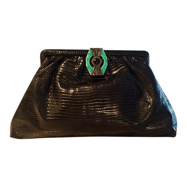 5a42ae27c71 1930 s Vintage Black Lizard Evening Bag For Sale
