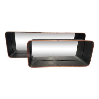 Modern Metal Shelf Mirrors - a Pair For Sale